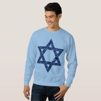 sequin star of david mens sweatshirt