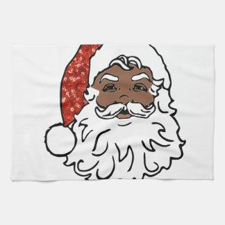 sequins black santa claus tea towel