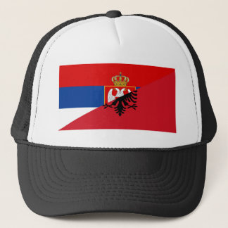 serbia albania flag country half symbol trucker hat