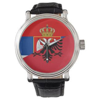 serbia albania flag country half symbol watch