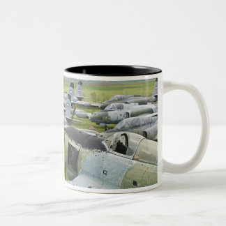 SERBIA, Belgrade. Yugoslav Aeronautical Museum Two-Tone Coffee Mug