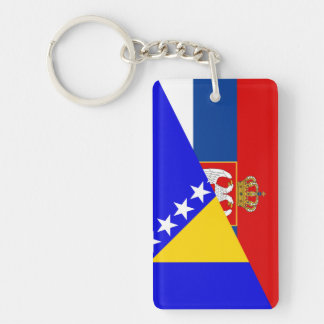serbia bosnia Herzegovina flag country half symbol Key Ring