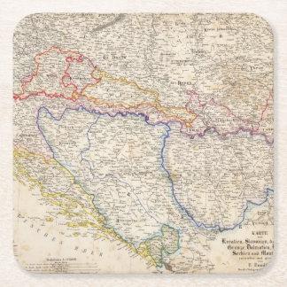 Serbia, Bosnia Square Paper Coaster
