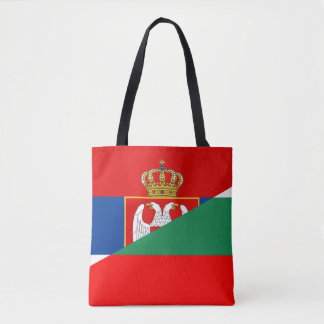 serbia bulgaria flag country half symbol tote bag