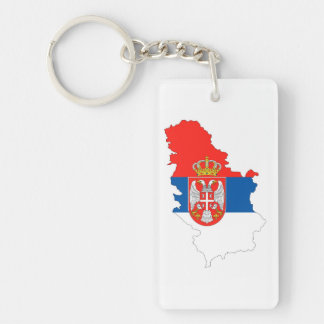 serbia country flag map shape symbol Single-Sided rectangular acrylic key ring
