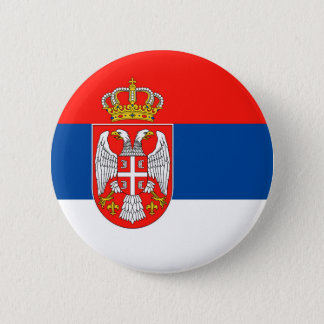 serbia country flag nation symbol name text 6 cm round badge