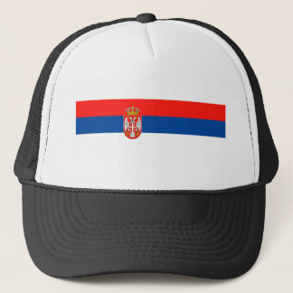 serbia country flag nation symbol name text trucker hat