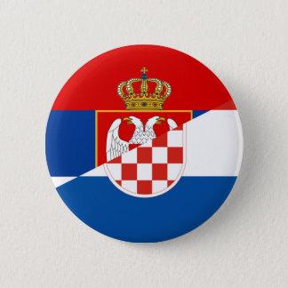 serbia croatia flag country half symbol 6 cm round badge