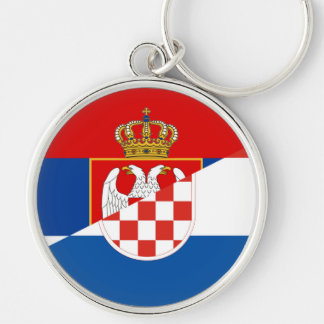 serbia croatia flag country half symbol key ring