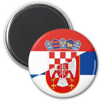 serbia croatia flag country half symbol magnet