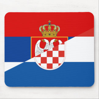 serbia croatia flag country half symbol mouse mat
