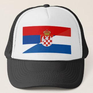 serbia croatia flag country half symbol trucker hat