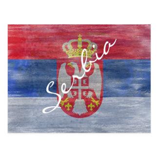 Serbia distressed Serbian flag Postcard