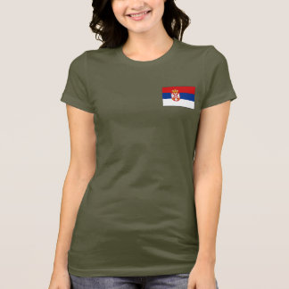 Serbia Flag and Map dk T-Shirt