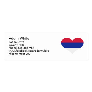 Serbia flag heart business card