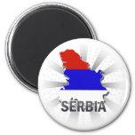 Serbia Flag Map 2.0 6 Cm Round Magnet