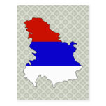 Serbia Flag Map full size Post Card