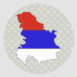 Serbia Flag Map full size Stickers