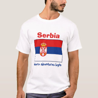 Serbia Flag + Map + Text T-Shirt