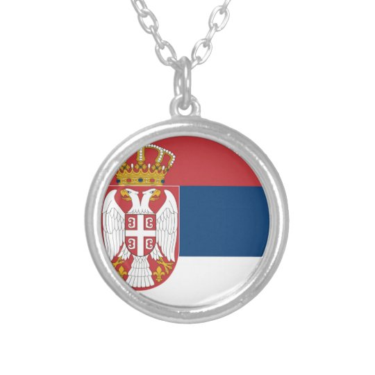 Serbia Flag Silver Plated Necklace