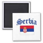Serbia Flag Square Magnet