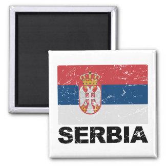 Serbia Flag Vintage Square Magnet