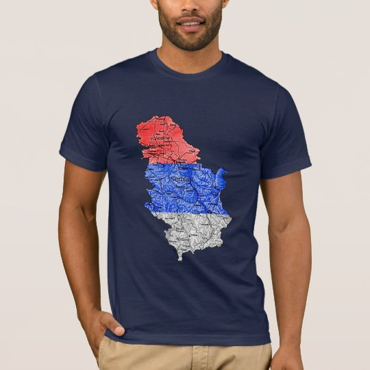 Serbia Flagcolor Map T-Shirt