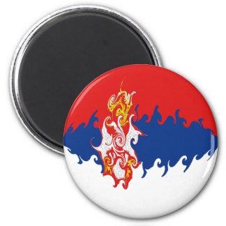 Serbia Gnarly Flag 6 Cm Round Magnet