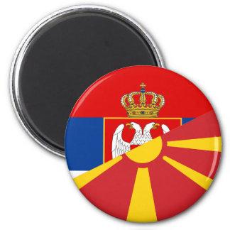 serbia macedonia flag country half symbol magnet