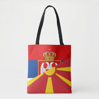 serbia macedonia flag country half symbol tote bag