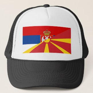 serbia macedonia flag country half symbol trucker hat