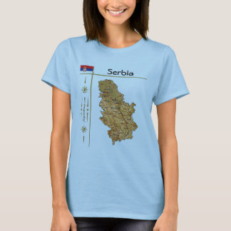 Serbia Map + Flag + Title T-Shirt