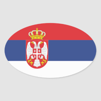 Serbia National Flag Oval Sticker