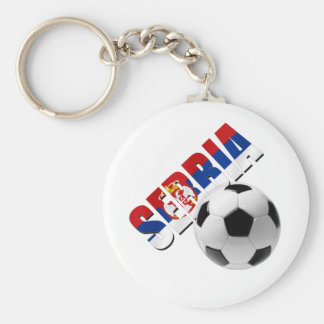 Serbia soccer ball Serbian flag worded logo Key Ring
