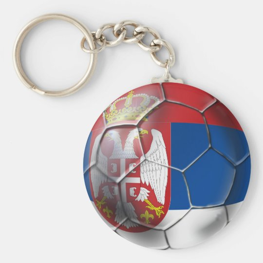 Serbia Soccer Basic Round Button Key Ring