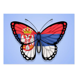 Serbian Butterfly Flag on Blue Business Cards