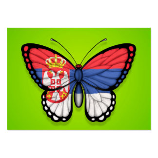 Serbian Butterfly Flag on Green Business Card Template