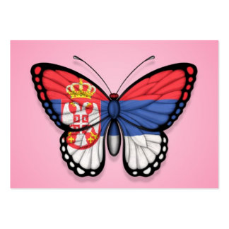Serbian Butterfly Flag on Pink Business Card