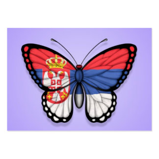 Serbian Butterfly Flag on Purple Business Cards