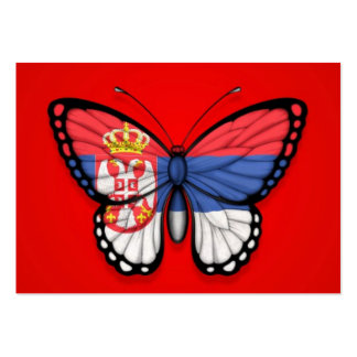 Serbian Butterfly Flag on Red Business Card Template