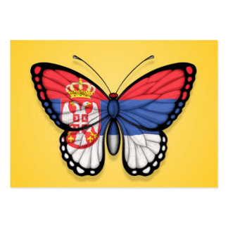 Serbian Butterfly Flag on Yellow Pack Of Chubby Business Cards