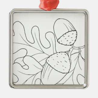 serbian cyrillic acorn Silver-Colored square decoration