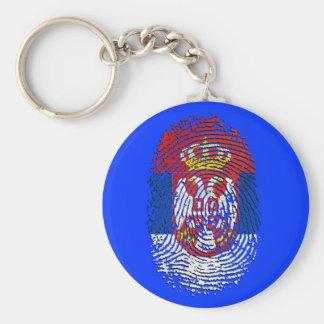 Serbian fingerprint DNA Serbia pride gifts Basic Round Button Key Ring