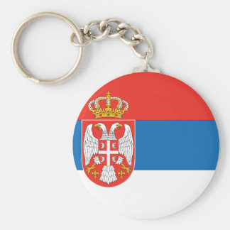 Serbian Flag Basic Round Button Key Ring