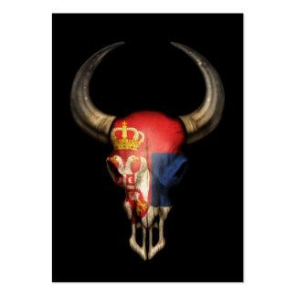 Serbian Flag Bull Skull on Black Business Card Template