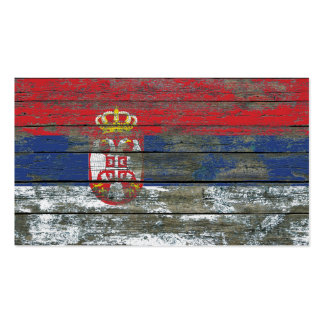 Serbian Flag on Rough Wood Boards Effect Pack Of Standard Business Cards