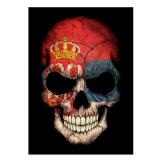 Serbian Flag Skull on Black Business Card