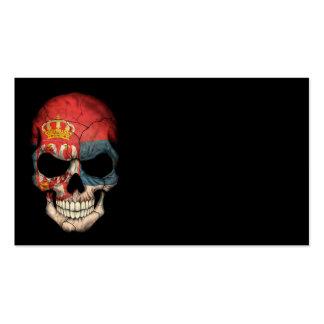 Serbian Flag Skull on Black Business Cards