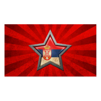 Serbian Flag Star with Rays of Light Business Card Template