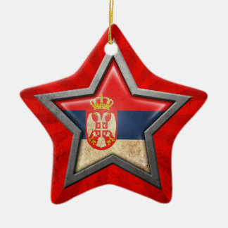 Serbian Flag Star with Rays of Light Christmas Ornament